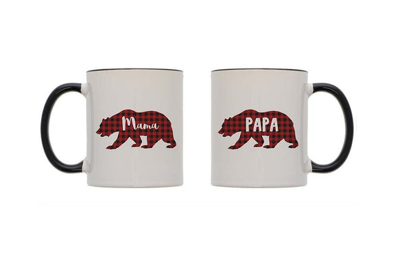 Mama Bear Papa Bear Couples Mug Set