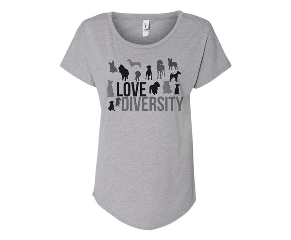 Love Diversity Dog Lovers Tee Shirt - In Grey & White