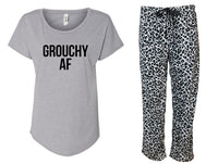 Grouchy AF Fleece Leopard Print Pajama Set