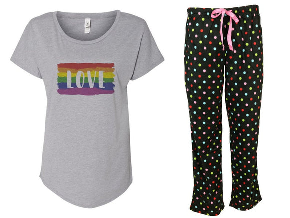 Rainbow Love Polka Dots Pride Pajama Set