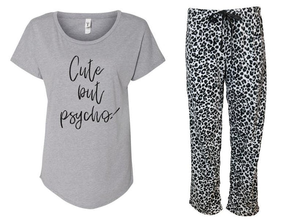 Cute but Psycho Fleece Leopard Print Pajama Set