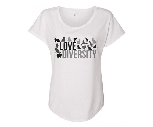 Love Diversity Cat Lovers Tee Shirt - In Grey & White
