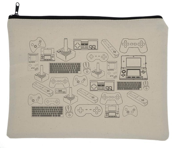 Vintage Video Controller Canvas Zipper Bag