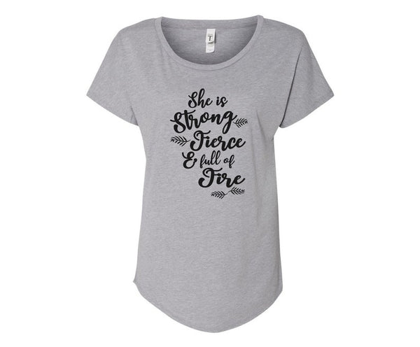 She is Fierce, Strong, and Full of Fire Tee Shirt - In Grey & White