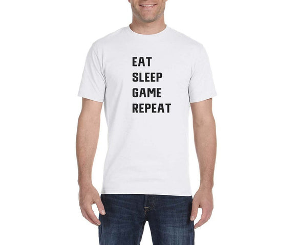 Eat Sleep Game Repeat T-Shirt - In White & Grey