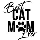 Best Cat Mom Ever Ladies Tee Shirt - In Grey & White