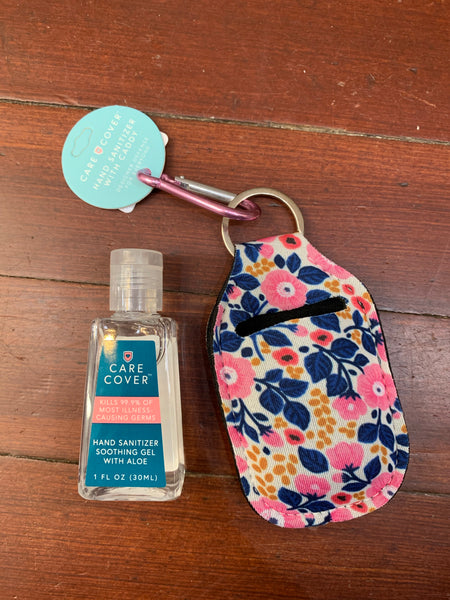 Hand Sanitizer Caddy Keychain & Refillable Bottle - In 8 Colors