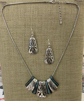 Moving Etched Two Toned Necklace Set - In 2 Colors
