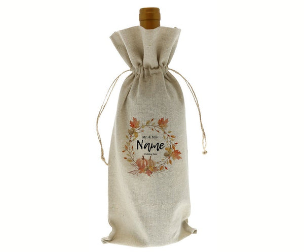 Custom Fall Mr. & Mrs. Wedding Do Linen Wine Bottle Bag