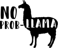 No Prob-Llama Ladies Tee Shirt - In Grey & White