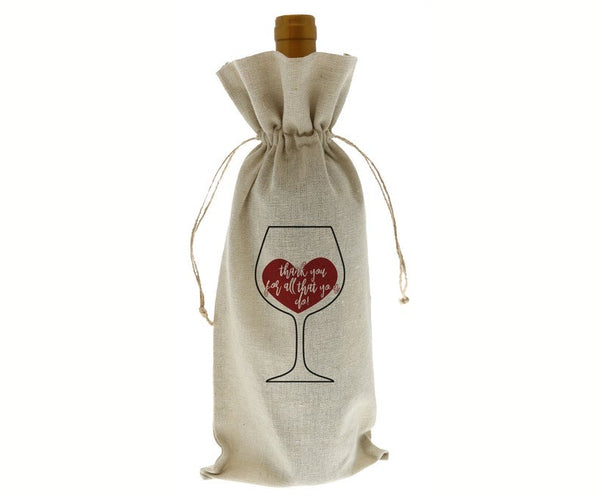 Thank You For All You Do Linen Wine Bottle Bag