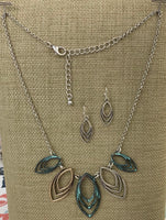 Triple Leaf Multi Toned Necklace Set - In 2 Colors