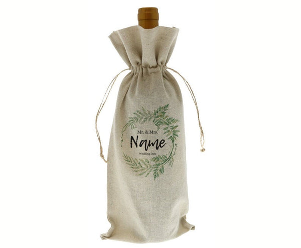 Custom Greenery Mr. & Mrs. Wedding Do Linen Wine Bottle Bag