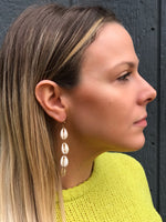 Natural Cowrie Shell Drop Earrings - In Gold or Silver Tone #111
