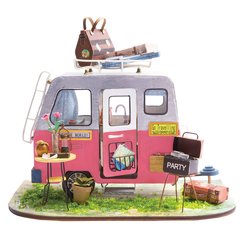 DIY Miniature Wooden Doll House Model Building Kits (Happy Camper with Furniture)