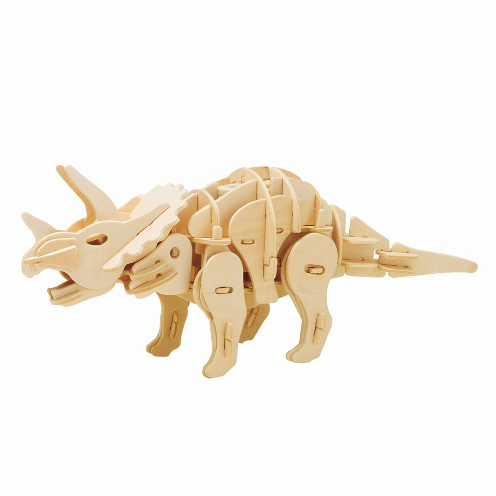 DIY Triceratops Electric Dinosaur 3D Wooden Model (Sound Control)