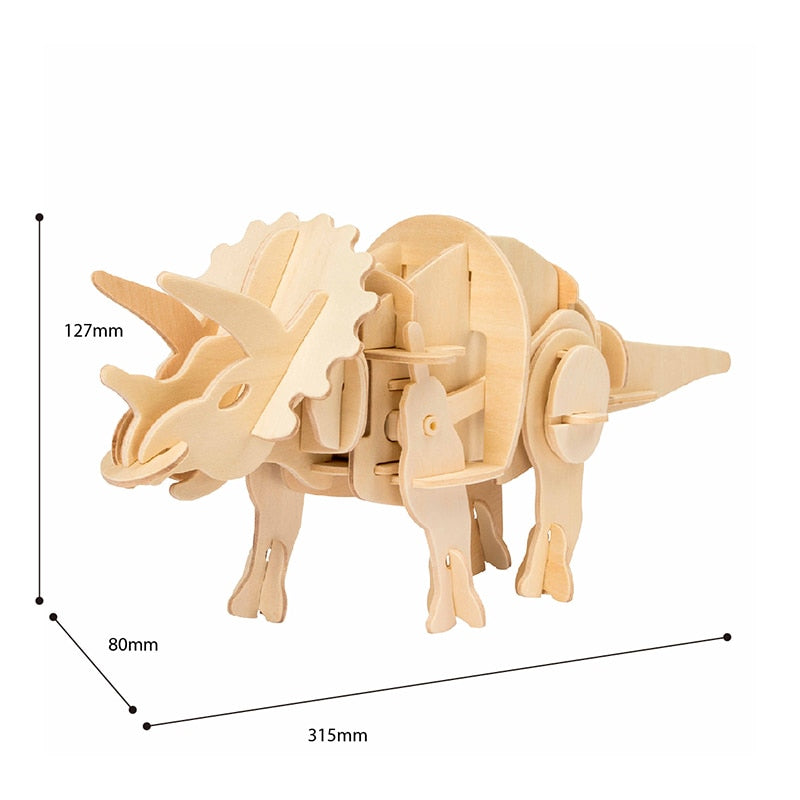 DIY Triceratops Electric Dinosaur 3D Wooden Puzzle Kits (Power Control)