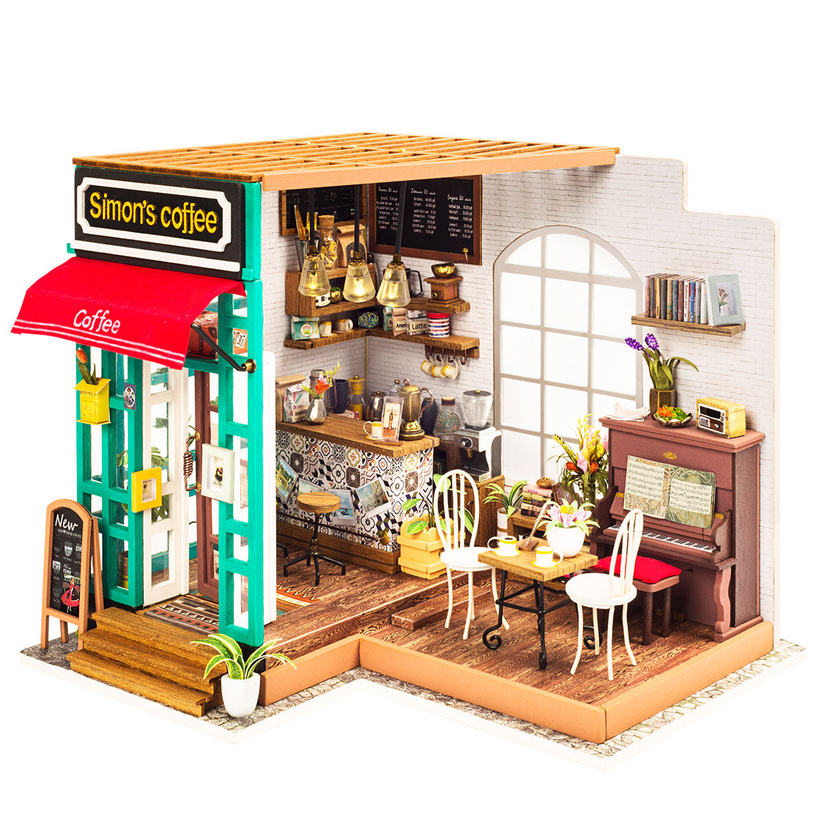 DIY Coffee House with Furnitures Miniature Wooden Model Building Kits