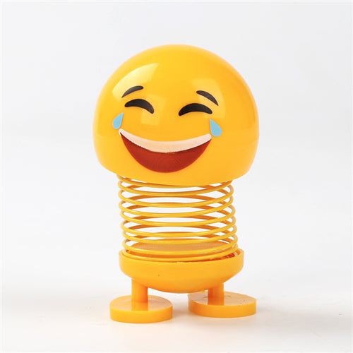 Car Shaking Head Emoji Doll Toy Cute Cartoon Funny Robot (Random style)