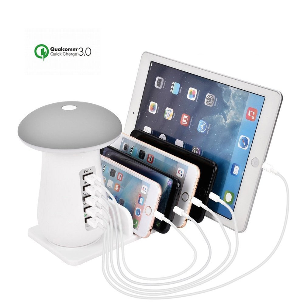 Mushroom LED Lamp  5 Ports USB Charge Station Hub QC3.0 Fast Charging