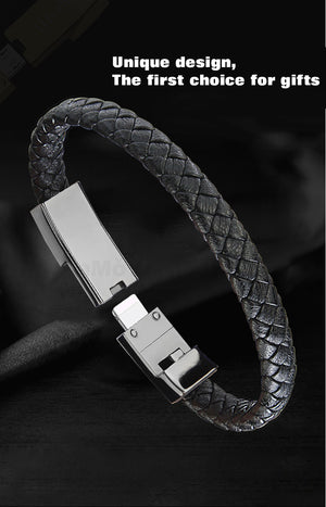 Leather Bracelet USB Cable For iPhone Android Type-C
