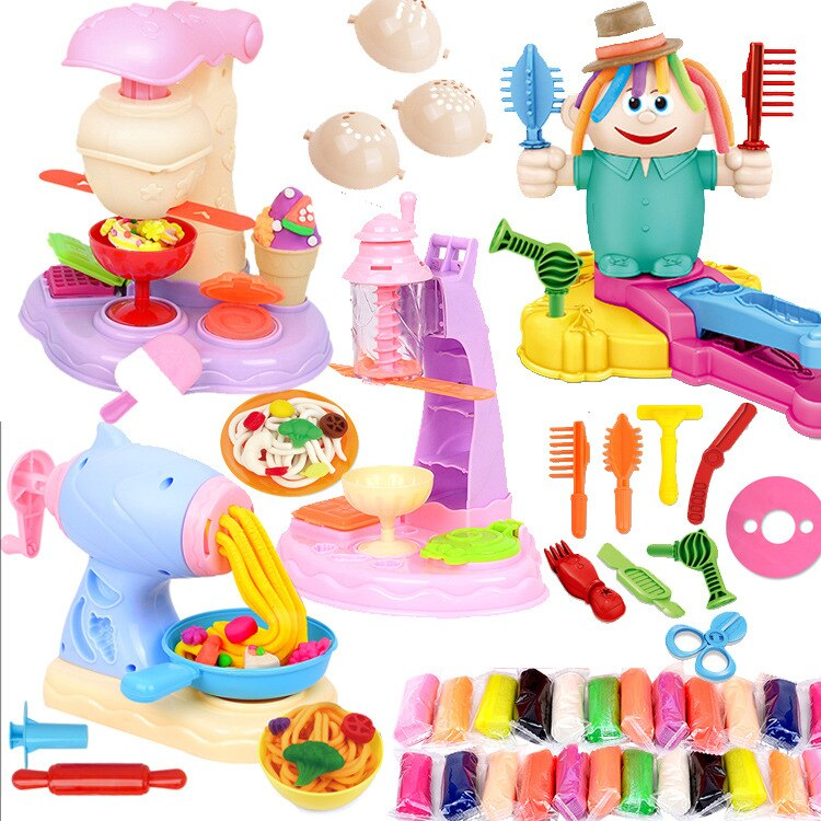 Handmade DIY Colored Clay Space Plasticene Model Toy Barber Noodle Maker Clay