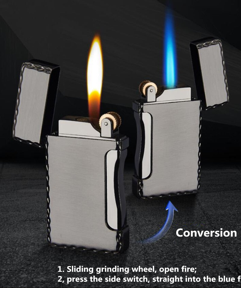 Gas lighter Blue Flame and Open fire two in one lighter
