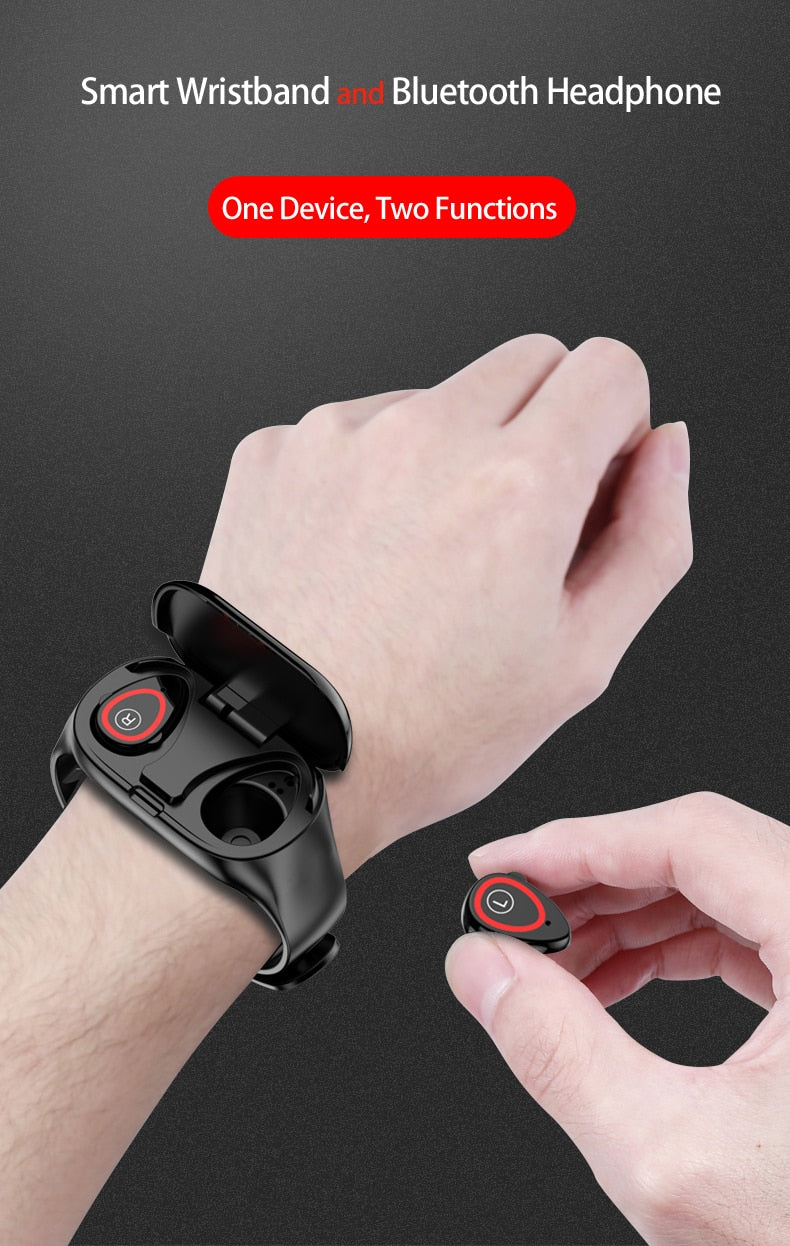 2 in 1 Smart Watch with Bluetooth 5.0 Earbuds