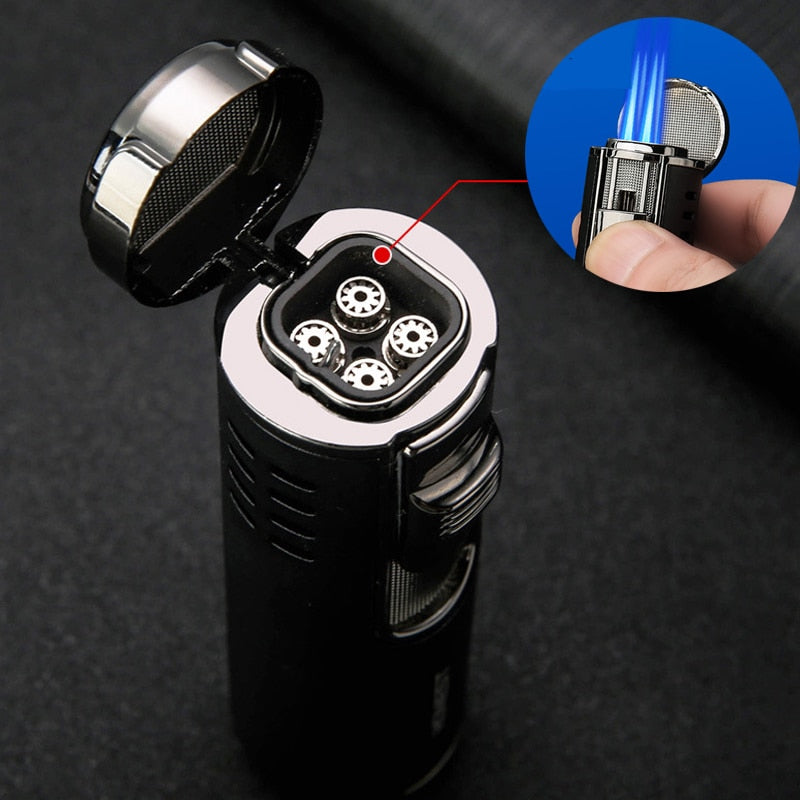 Four Torch Jet Adjustable Flame Refillable Fire Lighter