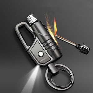 Outdoor Survival Tool Keychain Metal Permanent Match Striker Led Lighter