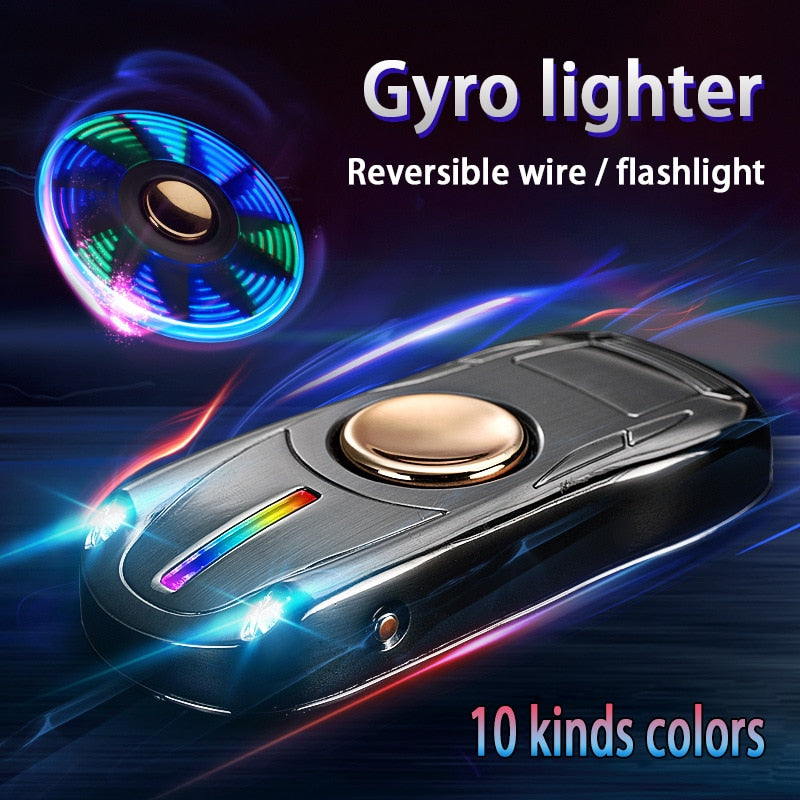 Fingertip Gyro Glow In Dark Light USB Charging Lighters Fidget Hand Spinner