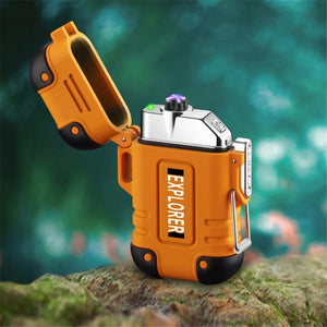 Waterproof Usb Electronic Lighter Dual Arc Plasma Outdoor Hiking Fire Starter