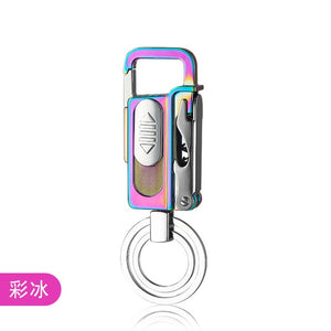 USB Keychain LED Lighter Outdoor Metal Windproof Multifunction Charging Cigarette Lighter Beer Wine Corkscrew Gadgets For Men