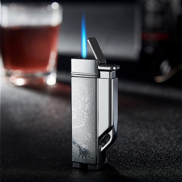 FOCUS Inflatable Straight Charge Lighter Windproof Cigar Creative Metal Lighter
