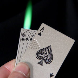 Playing Cards Butane Windproof Jet Torch Turbo Lighter