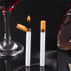 Mini Compact Torch Lighter Outdoor Butane Gas Lighter Metal Cigarette Shaped Lighter