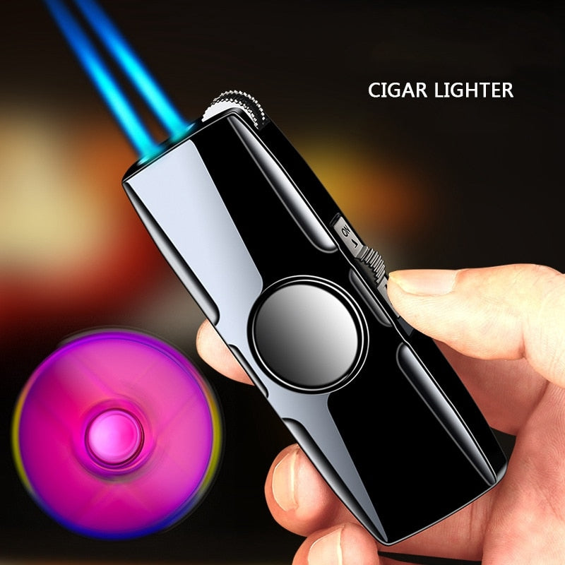 Metal Fidget Spinner GasTurbo Lighter Jet Tube 1300 C Butane Lighter