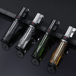 Cigar Torch Jet Lighter Refillable Butane Windproof Lighters with Gas Window