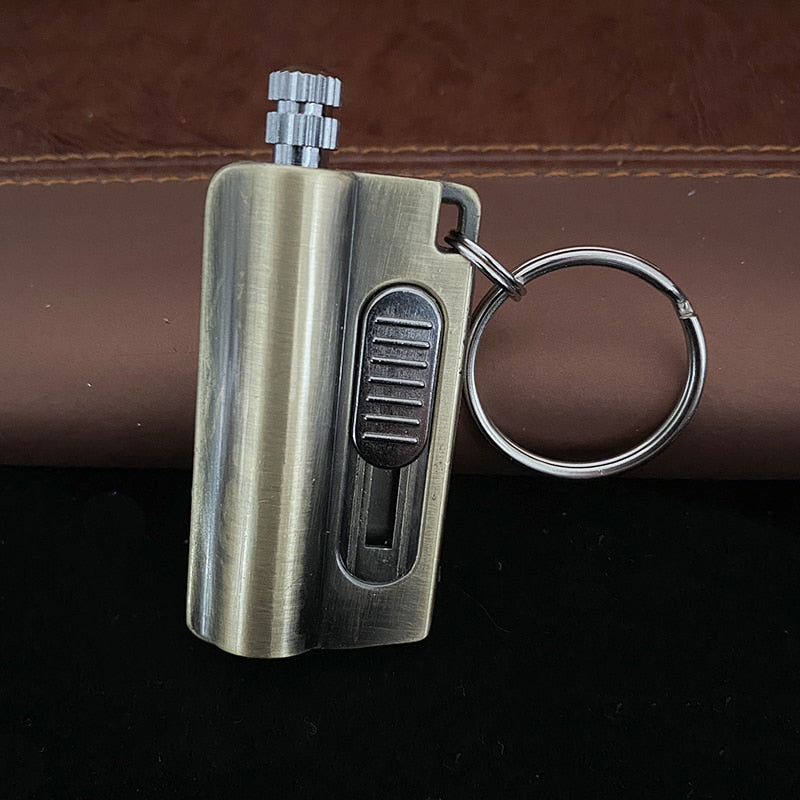 Metal Permanent Match Lighter With Knife Gasoline Keychain Flint Lighter