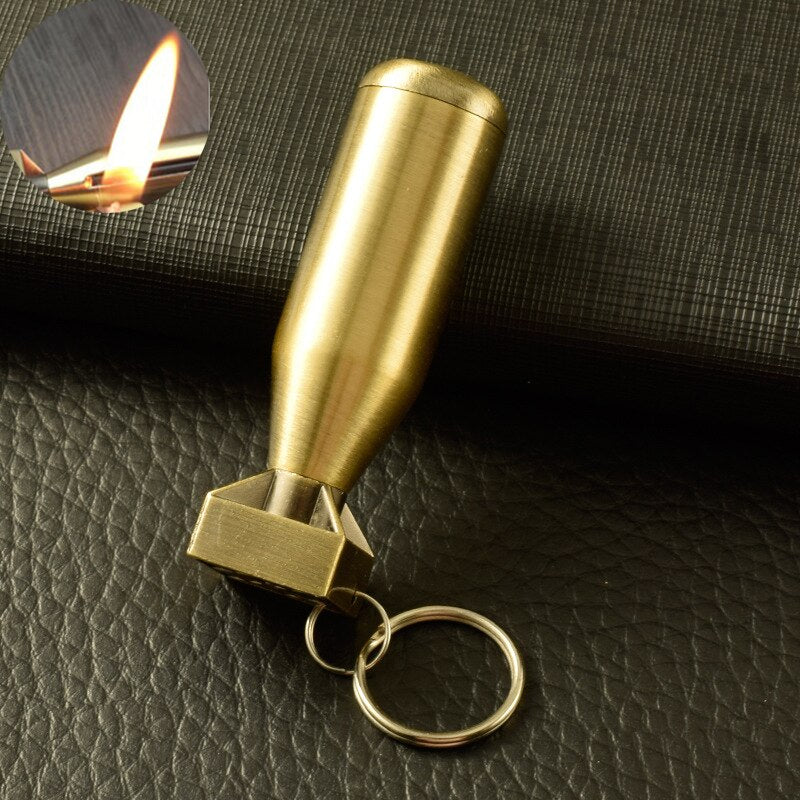 Kerosene Lighter Outdoor Survival Tool Mini Lighter Permanent Match Striker Keychain