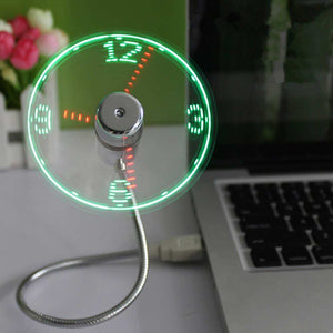Mini USB Fan LED Clock Cool Colorful / Temperature Display Fan