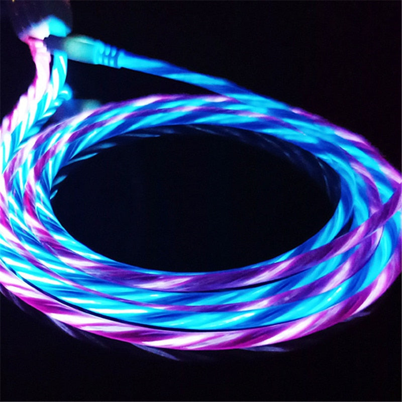 LED Glow Flowing Data USB Charger Cable for iPhone X Samsung Galaxy