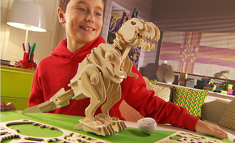 DIY Electric Dinosaur Model Toys Walking T-Rex 3D Wooden Puzzle