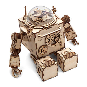 DIY Robot Music Box 3D Wooden Building Kits
