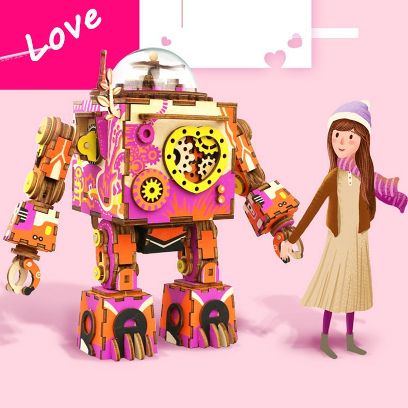 DIY Robot Model Kits 3D Music Box Puzzle Toys for Kids
