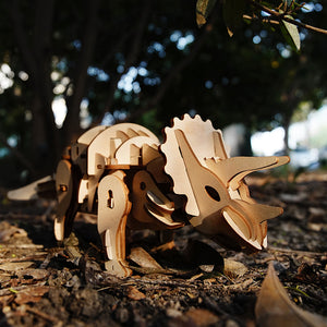 DIY Electric Dinosaur Triceratops Model 3D Wooden Puzzle