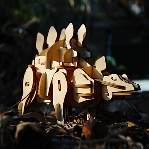 DIY Stegosaurus Electric Dinosaur 3D Wooden Puzzle Assembly Model Kits (Sound/Light Control)