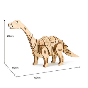 DIY Electric Dinosaur R/C+Sound +Light Control Apatosaurus 3D Wooden Puzzle