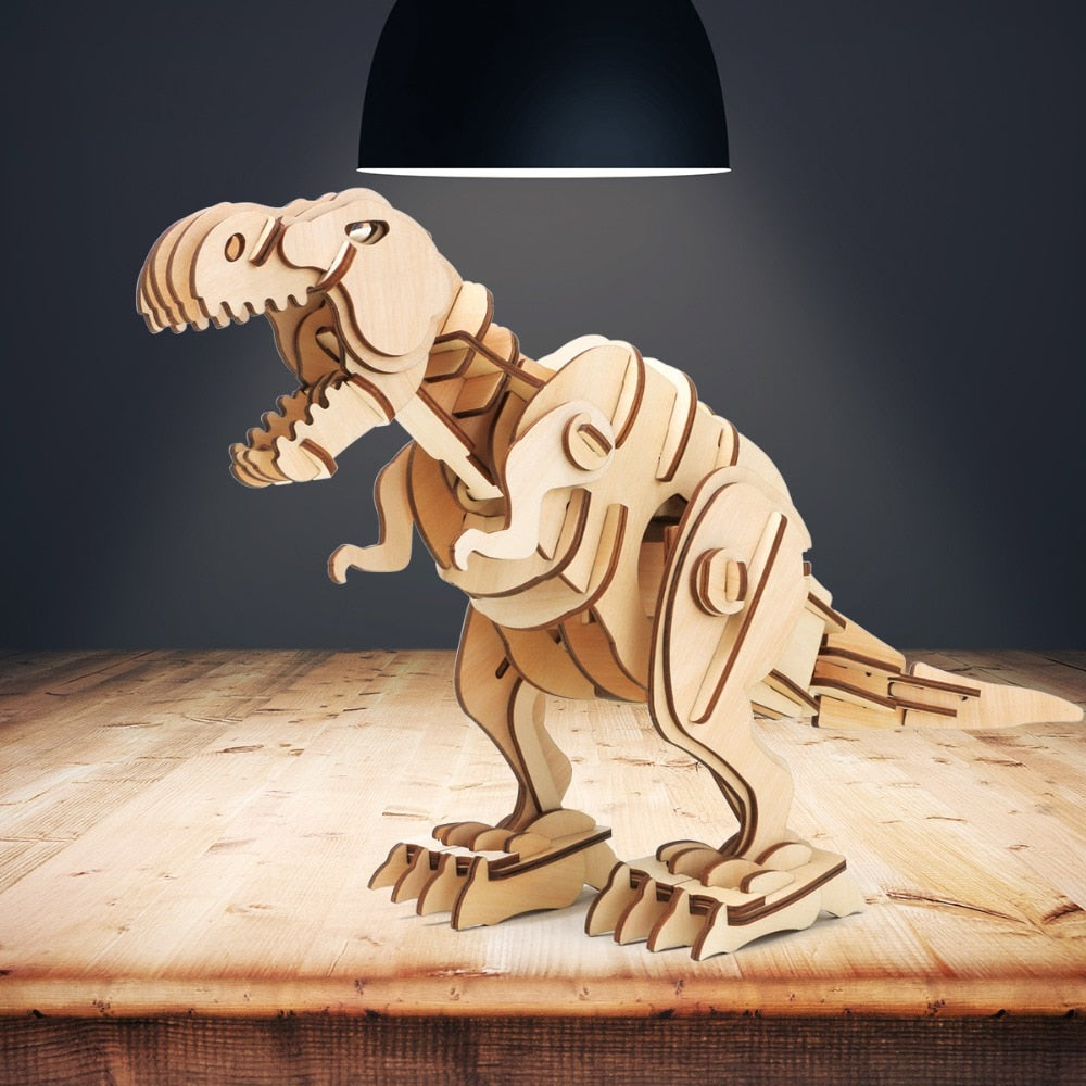 DIY Electric T-rex Dinosaur Model 3D Wooden Puzzle Kits