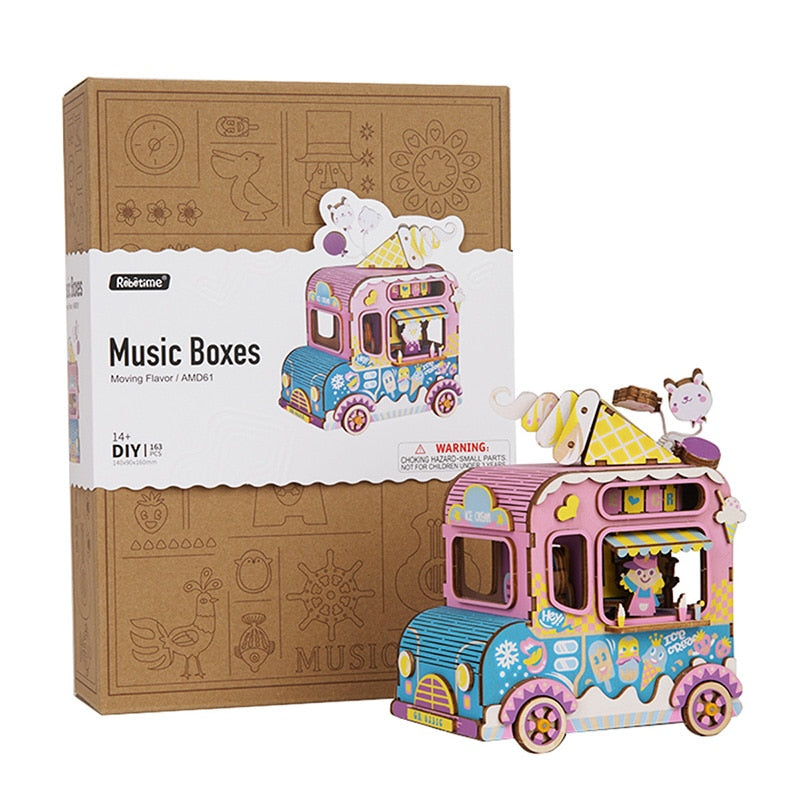 DIY Wooden Kits of Music Box Moving Flavor Toys for Children